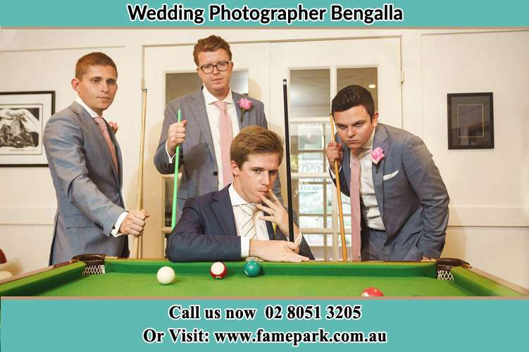 Photo of the Groom and the groomsmen playing billiard Bengalla NSW 2333