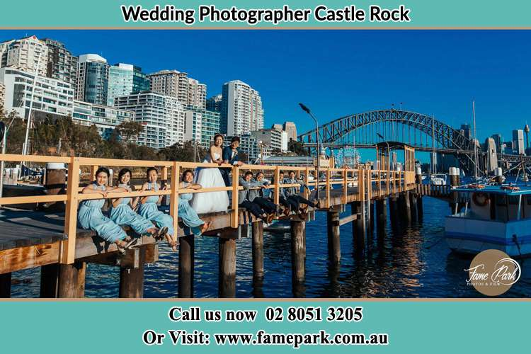 Photo of the Groom and the Bride with the entourage at the bridge Castle Rock NSW 2333