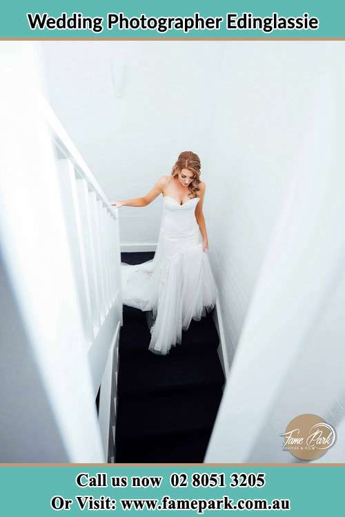 Photo of the Bride going down the stair Edinglassie NSW 2333