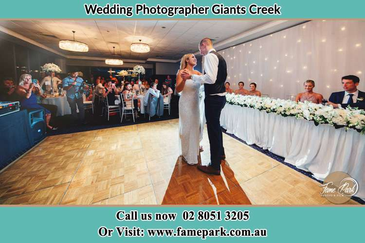 Photo of the Bride and the Groom at the yard Giants Creek NSW 2328