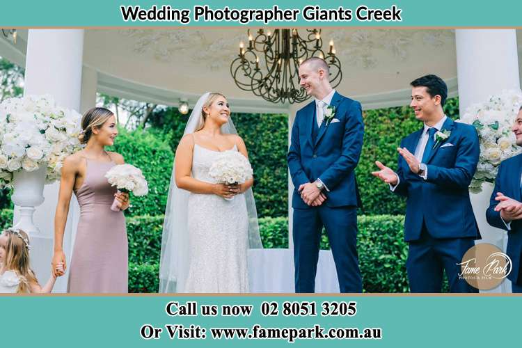 Photo of the Groom and the Bride with the entourage Giants Creek NSW 2328