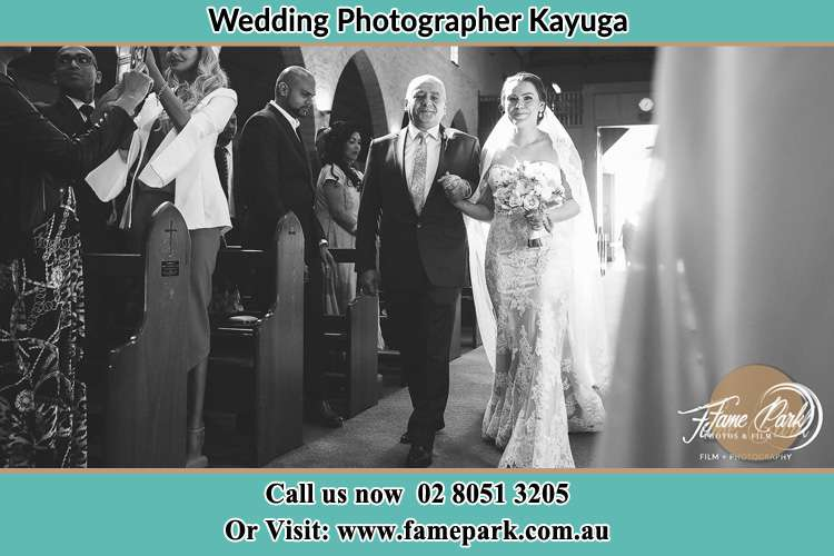 Photo of the Bride with her father walking the aisle Kayuga NSW 2333