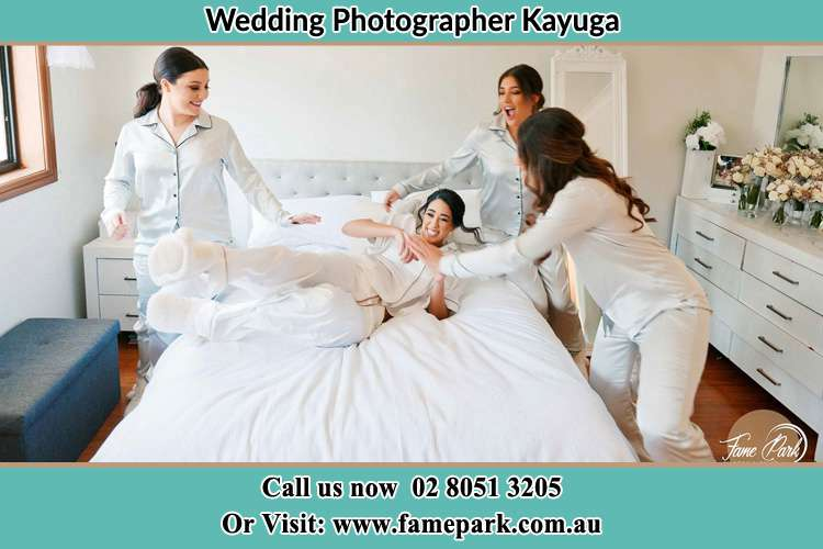 Photo of the Bride and the bridesmaids playing on bed Kayuga NSW 2333