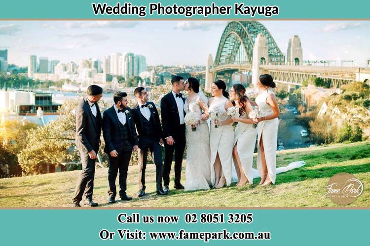 Photo of the Groom and the Bride with the entourage near the bridge Kayuga NSW 2333