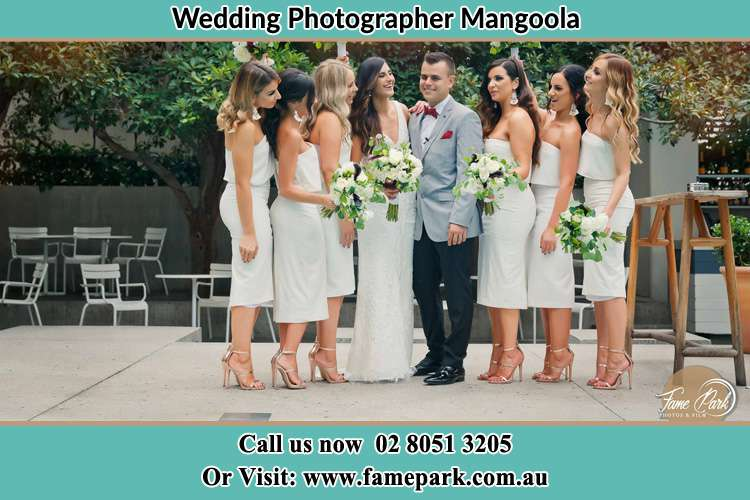 Photo of the Bride and the Groom with the bridesmaids Mangoola NSW 2333