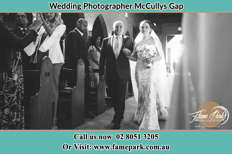 Photo of the Bride with her father walking the aisle McCullys Gap NSW 2333