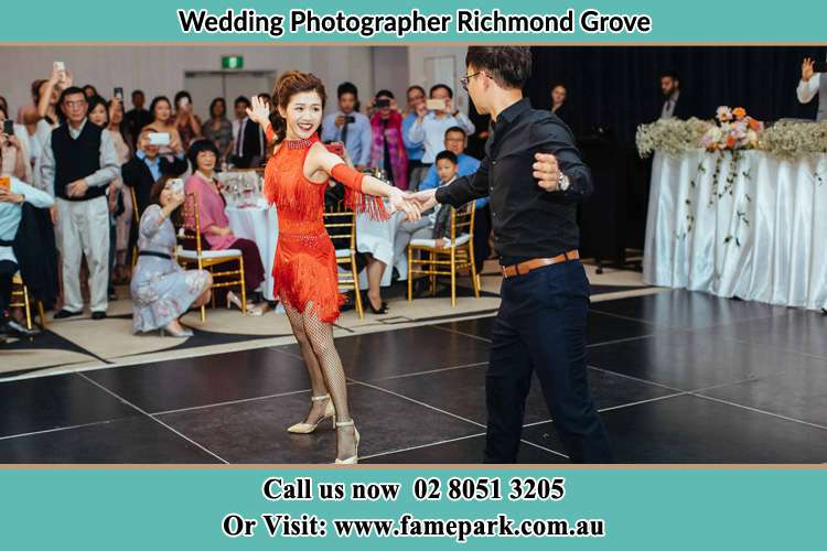 Photo of the Bride and the Groom dancing on the dance floor Richmond Grove Rd NSW 2333