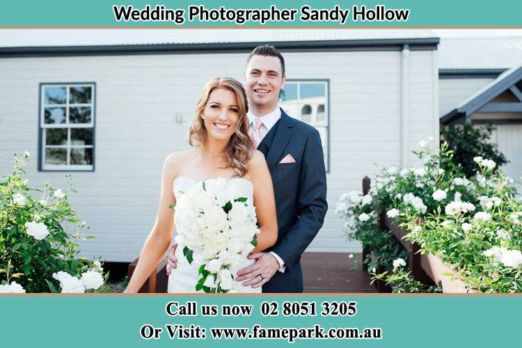 Photo of the Bride and the Groom at the front house Sandy Hollow NSW 2333