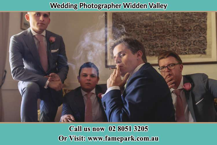 Photo of the Groom and the groomsmen relaxing Widden Valley NSW 2328